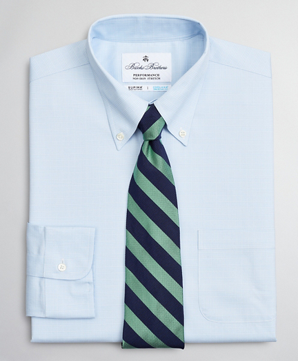 Regent Fitted Dress Shirt, Performance Non-Iron with COOLMAX®, Button-Down Collar Twill Check