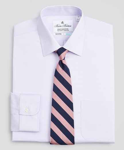 Regent Fitted Dress Shirt, Performance Non-Iron with COOLMAX®, Ainsley Collar Twill Check