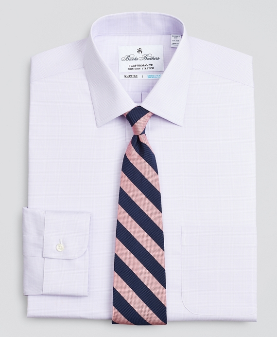 Regent Regular-Fit Dress Shirt, Performance Non-Iron with COOLMAX®, Ainsley Collar Twill Check Lavender