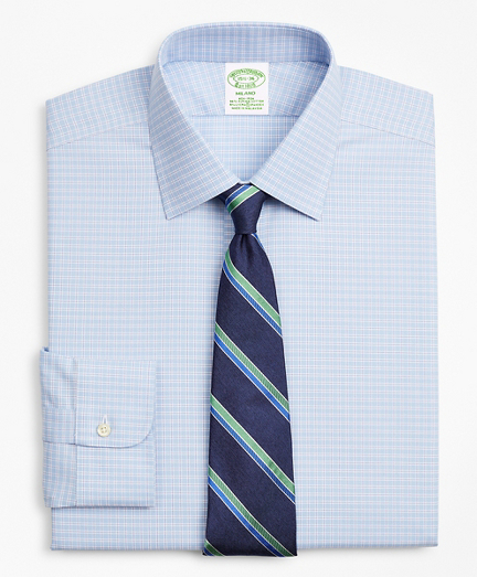 Stretch Milano Slim-Fit Dress Shirt, Non-Iron Royal Oxford Ainsley Collar Check