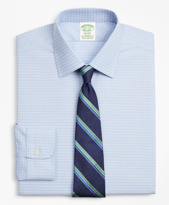 Stretch Milano Slim-Fit Dress Shirt, Non-Iron Royal Oxford Ainsley Collar Check Blue