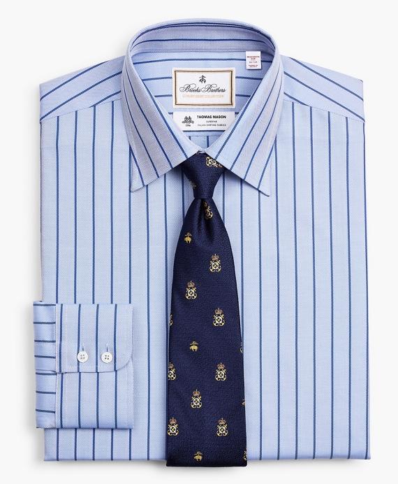 Luxury Collection Madison Classic-Fit Dress Shirt, Franklin Spread Collar Herringbone Stripe Blue