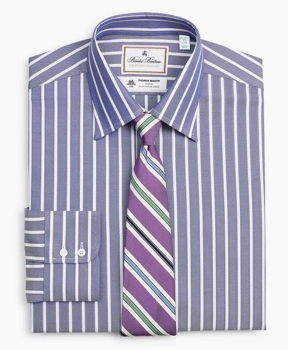 Luxury Collection Milano Slim-Fit Dress Shirt, Franklin Spread Collar Herringbone Wide Stripe Navy