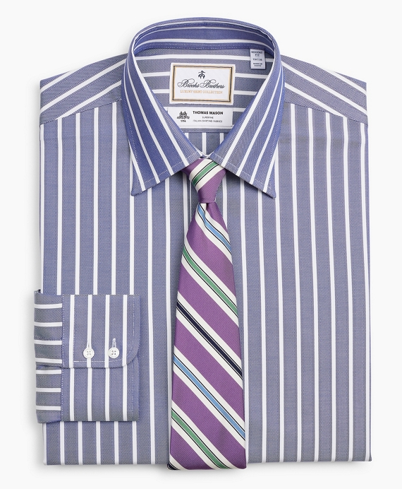 Luxury Collection Regent Regular-Fit Dress Shirt, Franklin Spread Collar Herringbone Wide Stripe Navy