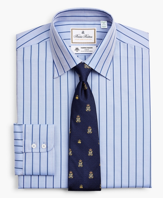 Luxury Collection Milano Slim-Fit Dress Shirt, Franklin Spread Collar Herringbone Stripe Blue