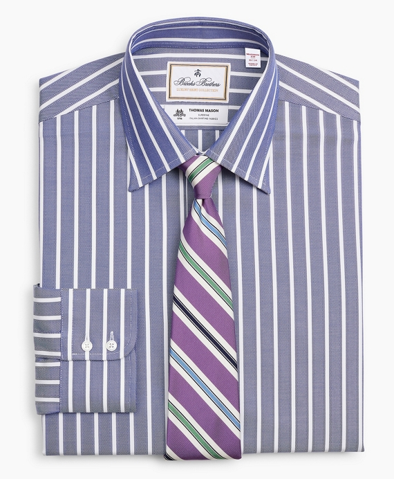 Luxury Collection Madison Relaxed-Fit Dress Shirt, Franklin Spread Collar Herringbone Wide Stripe Navy
