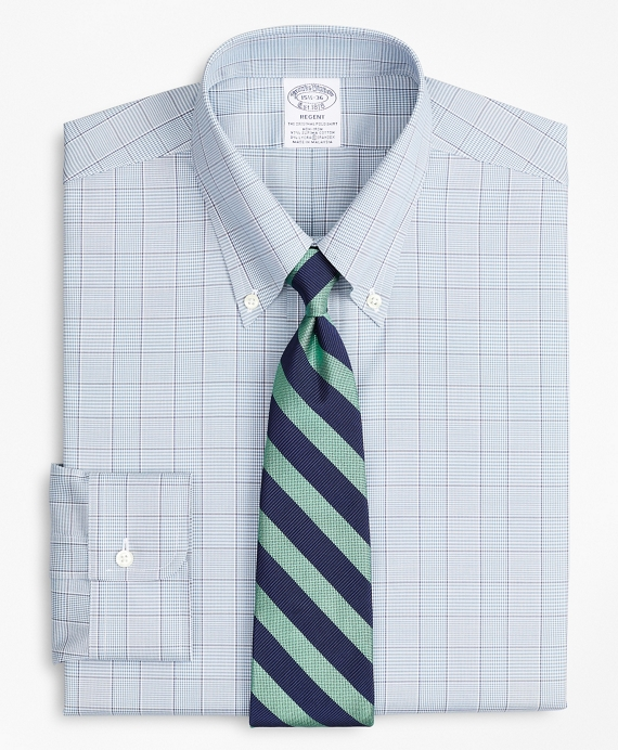 Stretch Regent Fitted Dress Shirt, Non-Iron Pinpoint Button-Down Collar Glen Plaid Blue