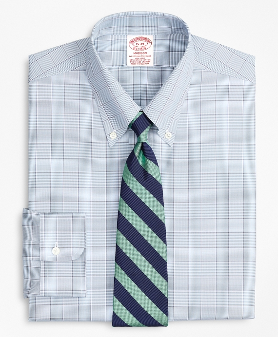 Stretch Madison Classic-Fit Dress Shirt, Non-Iron Pinpoint Button-Down Collar Glen Plaid Blue