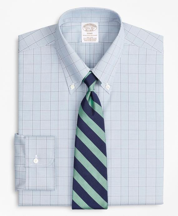 Stretch Soho Extra-Slim-Fit Dress Shirt, Non-Iron Pinpoint Button-Down Collar Glen Plaid Blue