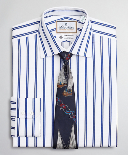 Luxury Collection Milano Slim-Fit Dress Shirt, Franklin Spread Collar  Double Stripe