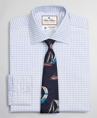 Luxury Collection Regent Fitted Dress Shirt, Franklin Spread Collar Textured Check
