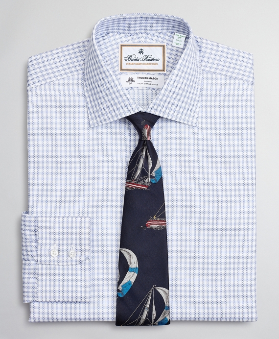 Luxury Collection Milano Slim-Fit Dress Shirt, Franklin Spread Collar Textured Check Blue