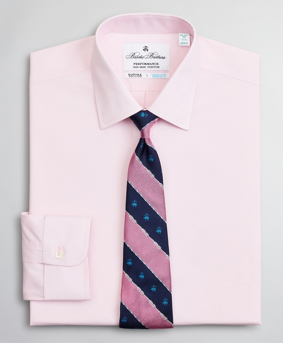 Milano Slim Fit Dress Shirt, Performance Non-Iron with COOLMAX®, Ainsley Collar Twill Pink