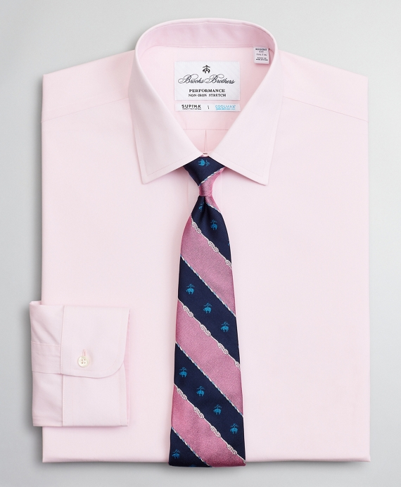 Regent Regular-Fit Dress Shirt, Performance Non-Iron with COOLMAX®, Ainsley Collar Twill Pink