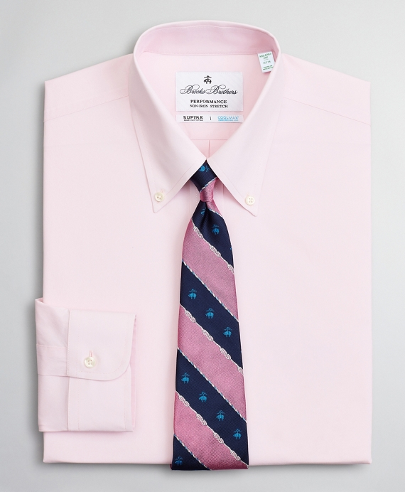 Milano Slim Fit Dress Shirt, Performance Non-Iron with COOLMAX®, Button-Down Collar Twill Pink