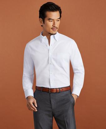 Golden Fleece® Regent Fitted Dress Shirt, Button-Down Collar Striped Jacquard