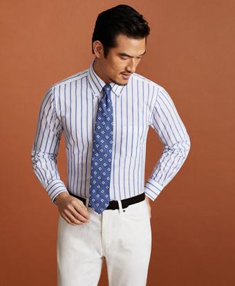 Golden Fleece® Regent Fitted Dress Shirt, Button-Down Collar Bold Stripe