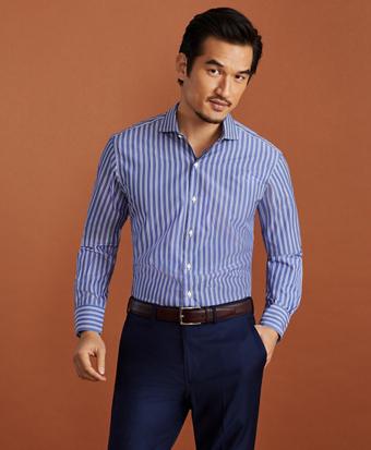 Golden Fleece® Regent Fitted Dress Shirt, Londoner Collar Blue Multi-Stripe Poplin
