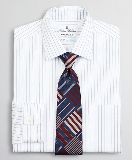 Regent Regular-Fit Dress Shirt, Performance Non-Iron with COOLMAX®, Ainsley Collar Twill Pinstripe