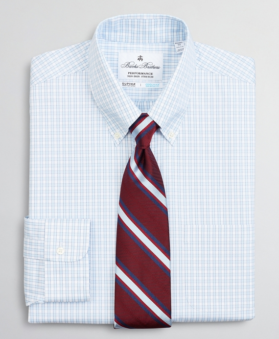 Regent Regular-Fit Dress Shirt, Performance Non-Iron with COOLMAX®, Button-Down Collar Twill Check Blue