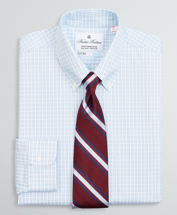Madison Relaxed-Fit Dress Shirt, Performance Non-Iron with COOLMAX®, Button-Down Collar Twill Check Blue