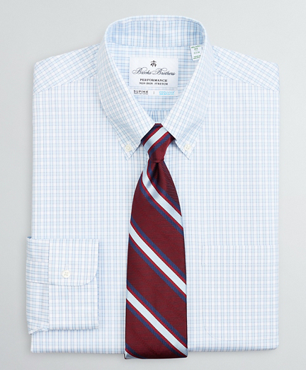 Milano Slim Fit Dress Shirt, Performance Non-Iron with COOLMAX®, Button-Down Collar Twill Check