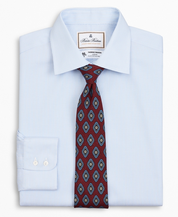 Luxury Collection Milano Slim-Fit Dress Shirt, Franklin Spread Collar Thick Stripe Blue