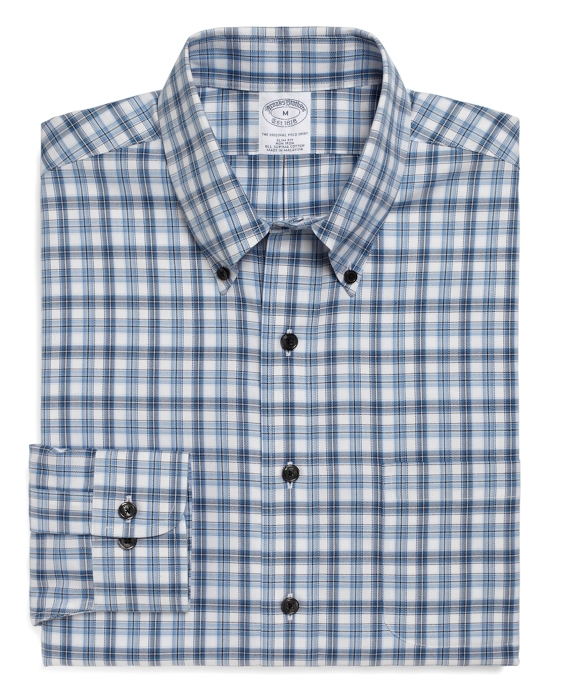 Non-Iron Slim Fit Alternating Split Tattersall Sport Shirt Blue