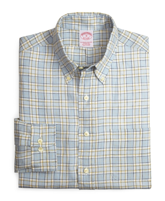 Regular Fit Linen Check Sport Shirt Blue-Tan