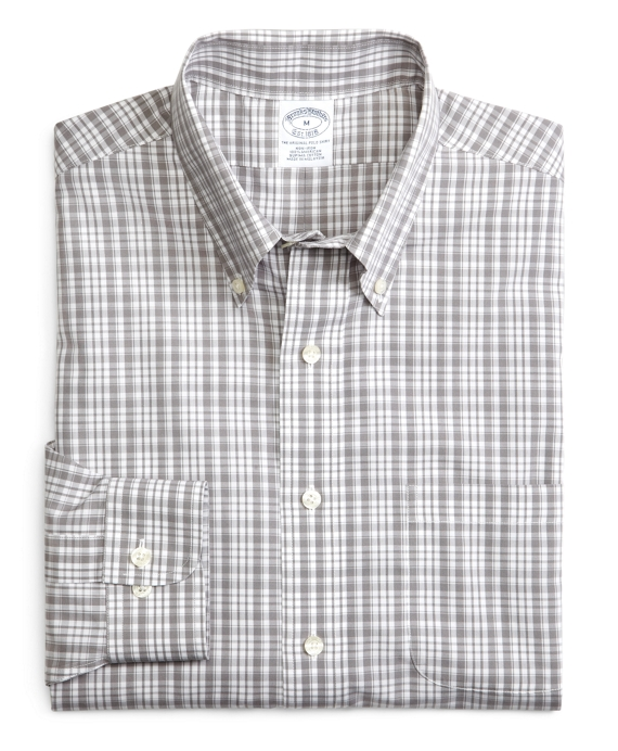 Supima® Cotton Non-Iron Slim Fit Sidewheeler Check Sport Shirt Grey
