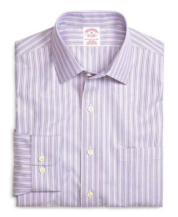Supima® Cotton Non-Iron Regular Fit Lavender Stripe Twill Sport Shirt Lavender