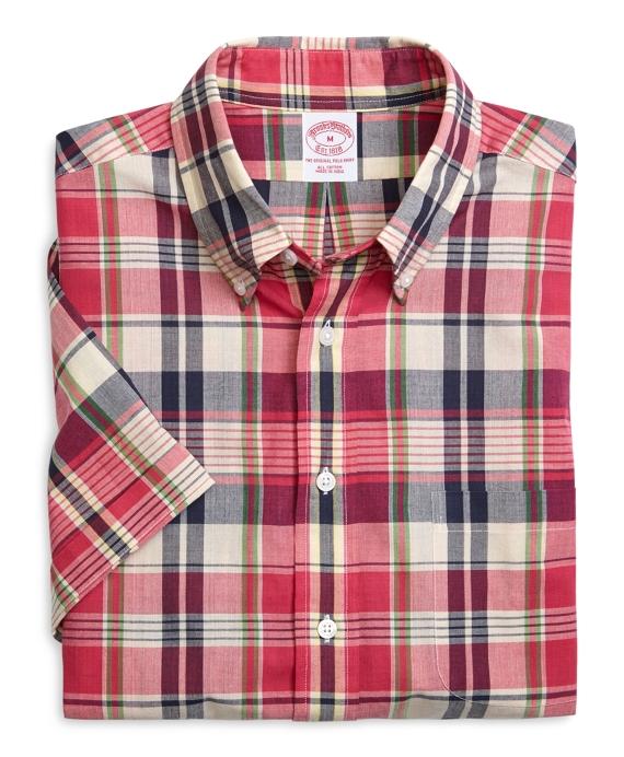 Regular Fit Plaid Madras Short-Sleeve Sport Shirt Pink