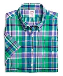 Regular Fit Green with Purple Madras Short-Sleeve Sport Shirt