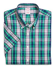 Supima® Cotton Non-Iron Regular Fit Large Plaid Short-Sleeve Sport Shirt