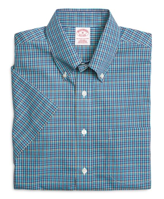 Supima® Cotton Non-Iron Regular Fit Aqua Mini Check Short-Sleeve Sport Shirt f3edc8f503b
