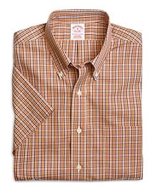 Supima® Cotton Non-Iron Regular Fit Orange Check Short-Sleeve Sport Shirt