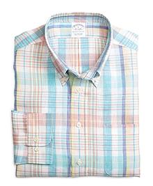 Slim Fit Aqua with Pink Plaid Linen Sport Shirt