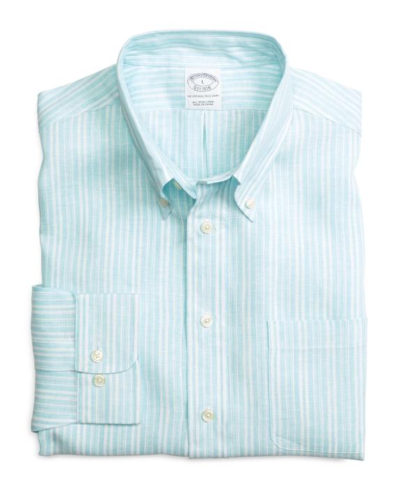 Slim Fit Double Alternating Stripe Linen Sport Shirt Aqua