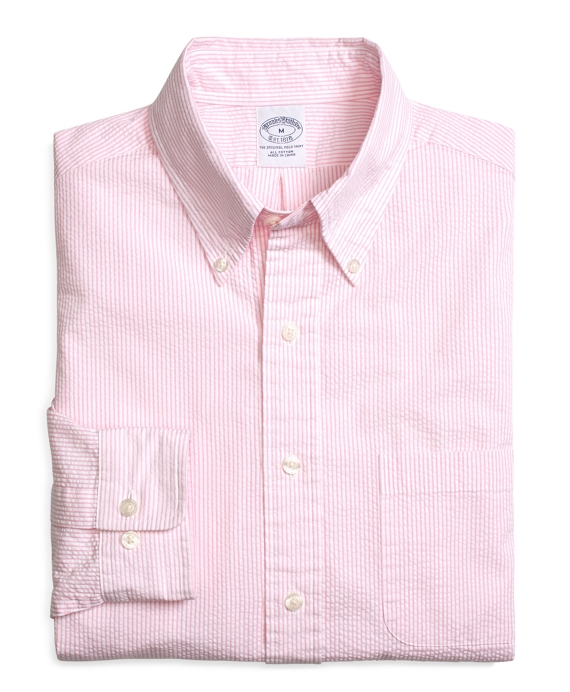 Men s Slim Fit Seersucker Pink Candy Striped Sport Shirt  2df2eb679788