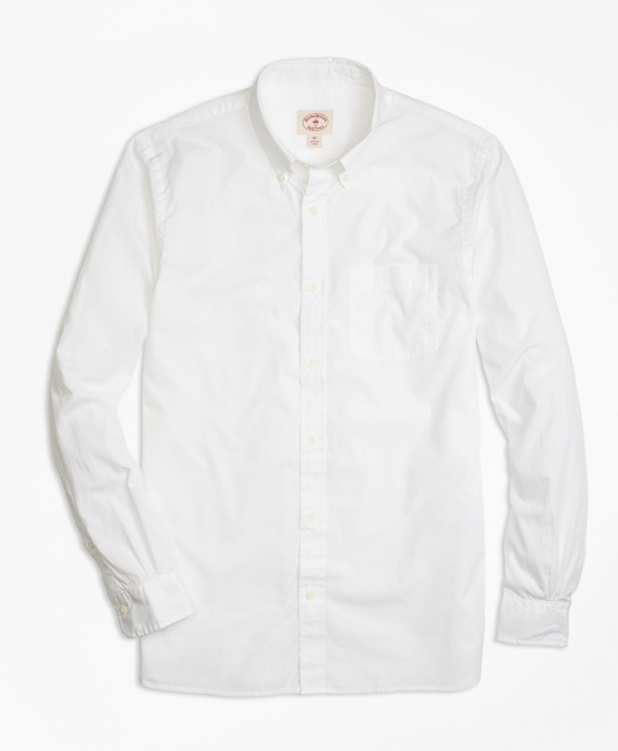 Solid White End-on-End Sport Shirt White