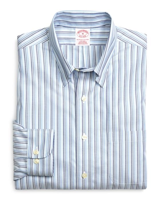 Supima® Cotton Non-Iron Regular Fit Tonal Stripe Twill Sport Shirt Blue