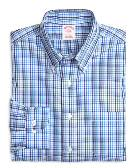 Supima® Cotton Regular Fit Non-Iron Tonal Check Sport Shirt Blue