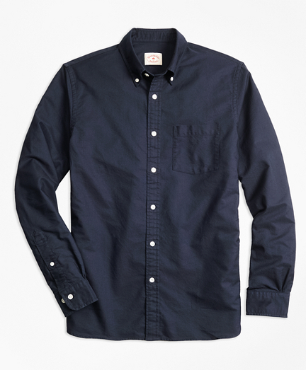 Solid Oxford Polo Button-Down Shirt