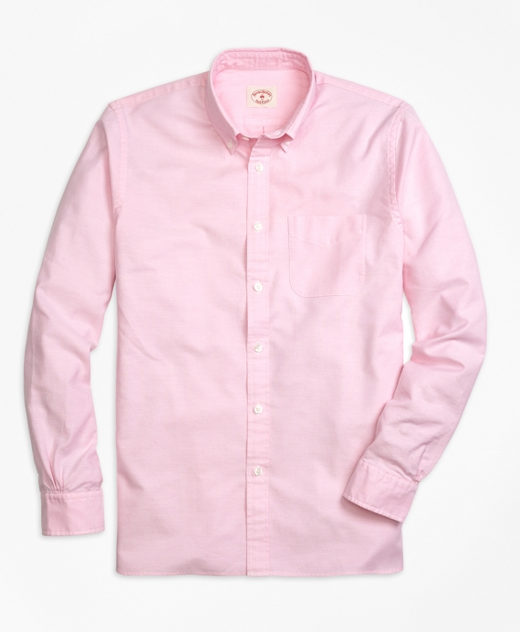 Solid Oxford Polo Button-Down Shirt Pink