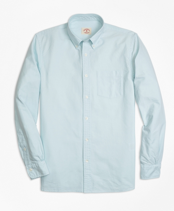Solid Oxford Polo Button-Down Shirt Blue