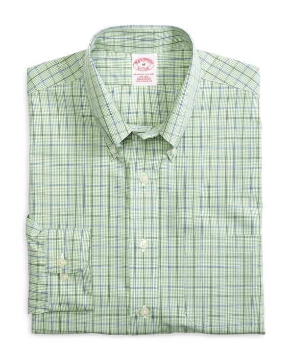 Non-Iron Regular Fit Gingham Sport Shirt Green