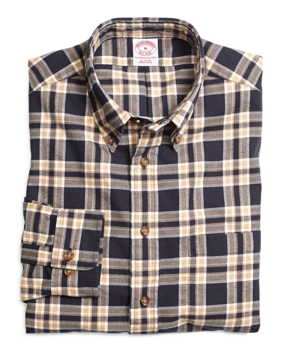 Regular Fit Navy Plaid Flannel Sport Shirt Navy