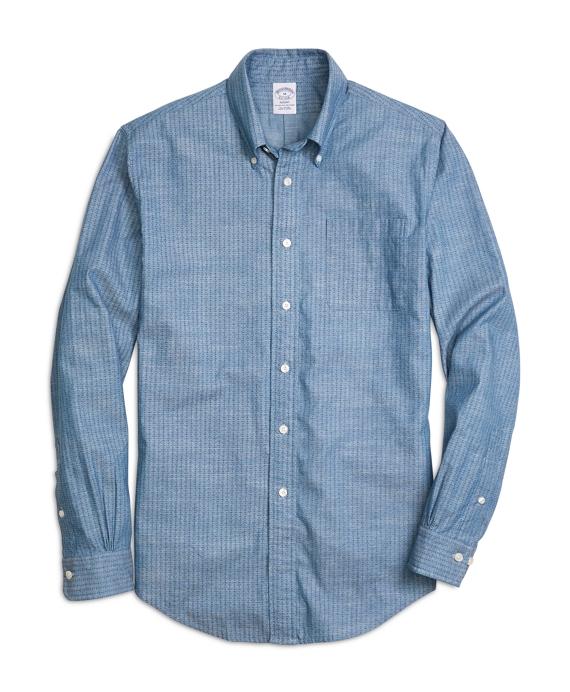 Regent Fit Chambray Anchor Sport Shirt Blue