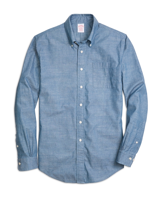 Madison Fit Chambray Anchor Sport Shirt Blue