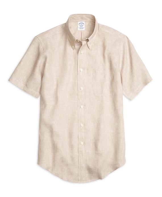 Regent Fit Linen Short-Sleeve Sport Shirt Tan
